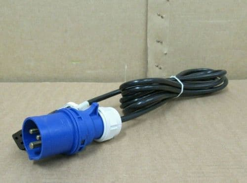 3M Meter IEC C19 To IP44 16A PCE Commando Blue Plug Power Lead Cable